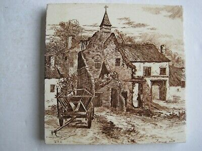 ANTIQUE VICTORIAN MINTONS TILE  - RUINS OF HOUGOMONT - L.T.SWETNAM c1890 No.2024