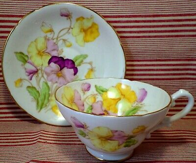ART DECO China PANSIES Cup & Saucer Duo HAND PAINTED Shabby Chic VINTAGE Stanley