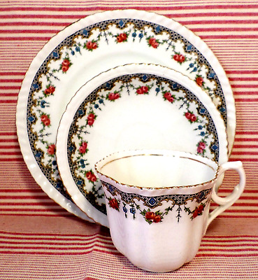 ART DECO China TRIO Best English ROSE SWAGS Floral VINTAGE Tea Time SHABBY CHIC