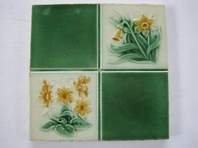 Antique Art Nouveau Glazed Wall Tile - Quartered Daffodils & Primroses Design