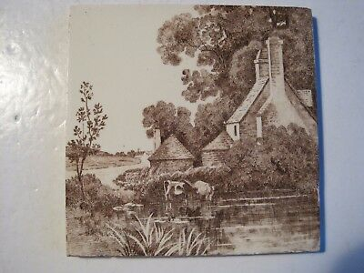 ANTIQUE VICTORIAN MINTONS BROWN & CREAM TRANSFER TILE - COWS IN RIVER No.2475