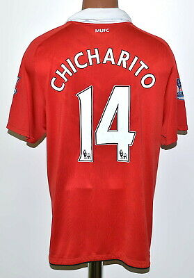 Manchester United 2010/2011 Home Football Shirt Nike Chicharito #14 Size L Adult