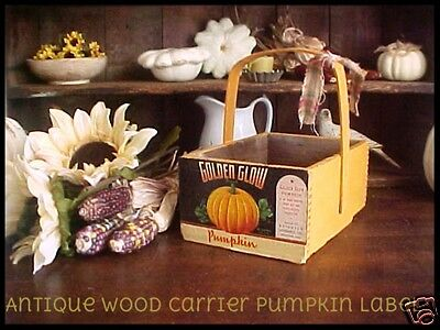 Primitive Antique old Wooden Carrier Tote HALLOWEEN Orange Paint & Pumpkin Label