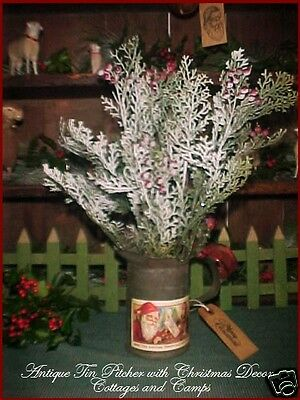 Primitive Antique Tin Pitcher Santa Label with Xmas Tree Greens & Gift Tag Decor