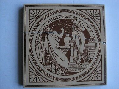 ANTIQUE MINTON - MOYR SMITH SHAKESPEARE TILE - WNTER'S TALE V.III. c1874