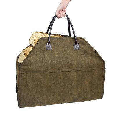 Log Carrier Heavy Duty Canvas Firewood Wood Carrying Tote Bag