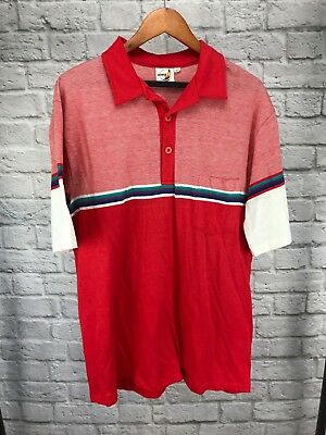 760d333c1 Vintage 80s Hobie Surfing Polo Shirt 50/50 Red Striped XLT Made in U.S.A.