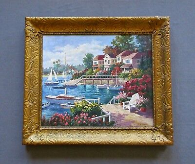 Impressionist Oil Painting, Coastal Maine Harbor Seascape/Landscape