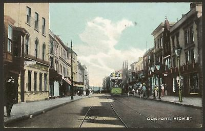 Hampshire Gosport. A Tram Coming Up Gosport High Street 1907 Postcard by Sweasey