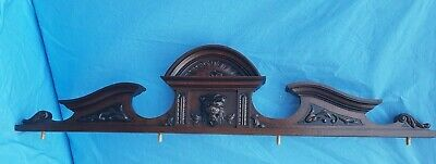 """47"""" Antique French, large pediment,Renaissance,head of fauna ,carved walnut 19th"""