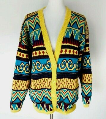 b1bb526438a748 Vintage 2X Cardigan Sweater Yellow Bright Colorful V-Neck Fair Isle 80s 90s
