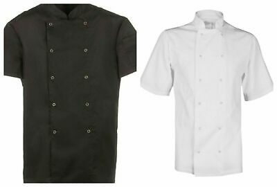 Chef Jacket Food Industry Catering white&black Short Sleeve Suitable For Unisex