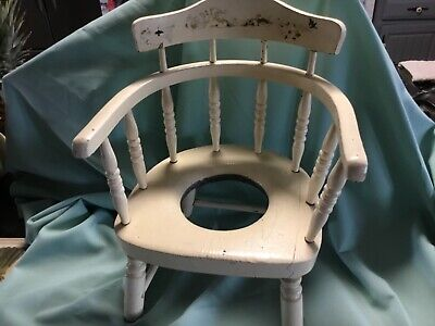 Vintage Painted Beige Toile Winsor Back Child's Potty Chair