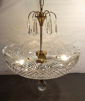 Vintage Waterford Crystal 3 Light Ceiling Pendant Light ~ Made In Ireland