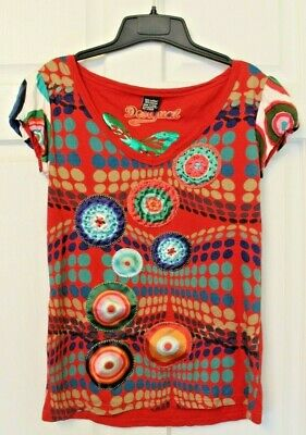 d06e20cf0 Desigual Floral Beaded Applique T-Shirt Top Elastic Cap sleeve Womens Size M