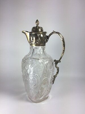 William Hutton & Sons Late 19th C London Sterling Silver Mounted Glass Decanter