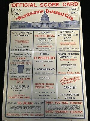 1937 Washington Senators Cleveland Indians Blank Scorecard