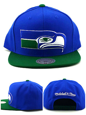 4d24dcb9 Seattle Seahawks New Mitchell & Ness Throwback Green Blue Era Snapback Hat  Cap