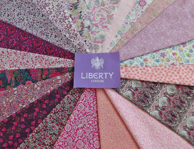 """20 'All Pink' Liberty Tana Lawn Fabric Patchwork 5"""" Squares"""