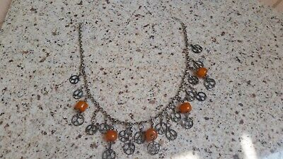 Antique Silver & Amber Folklore Ottoman Necklace 19th C.