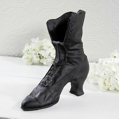 Vintage Shoe Planter Old Black Ceramic Boot Flower Planter Indoor Outdoor New