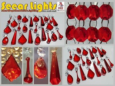 Red Chandelier Glass Crystals Drops Lamp Droplets Beads Light Replacement Parts