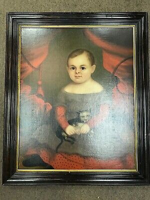 Early 19th Century Framed Oil on Canvas Portrait of Girl & Her Kitten Painting