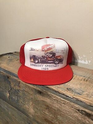 1fd78be95 Vintage Sandusky Speedway 1989 trucker hat cap two tone Red White racing  ISMA