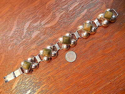 Vintage Old Mexico Green Agate Bracelet Sterling Silver Chain Panel 7 1/2 inch