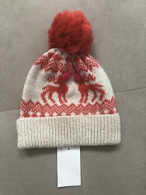 0fe32e47bd5 MINI BODEN Johnnie Fair Isle NORDIC Hat POM POM Beige Red Reindeer Size S  Girls