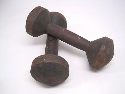 Vintage Pair 5 lb Round Bun Cast Iron Hand Weights Weight Dumbbells Dumbbell
