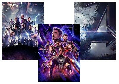 Avengers Endgame: Captain America Iron Man A5 A4 A3 Textless Movie & DVD Posters