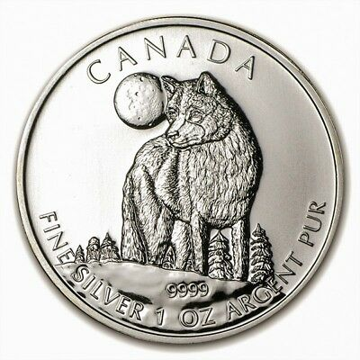 Wildlife Maple Leaf 5$ 2011 Wolf Loup, 1 once oz Argent pur Silver Coin Canada