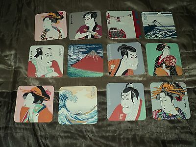 Unused 12 Vintage Japanese Fine Art Ukiyoe Coasters
