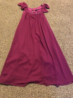 M&Co Kylie dark pink sleeveless gem & bow detail party dress girls age 12 years
