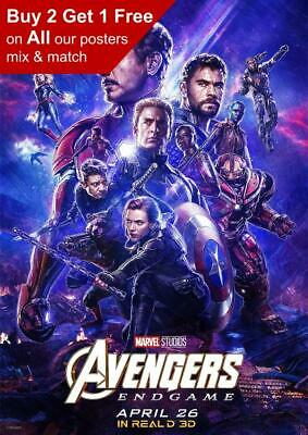 Marvel Avengers Endgame Real D 3D Movie Poster A5 A4 A3 A2 A1