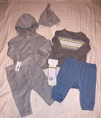 Gymboree Baby Boy 6-12 Months 6 Piece Outfit Set Blue Grey Baby Basics NWT