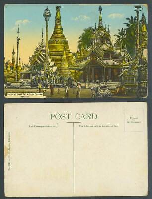 Burma Old Postcard Great Bell Shrine, Shan Pagoda Temple Rangoon Elephant Statue