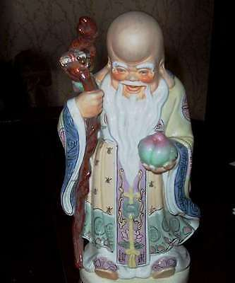 "Antique Chinese Statue of SAU 12"" Mint CHINESE GOD WEALTH WISDOM LONG LIFE"