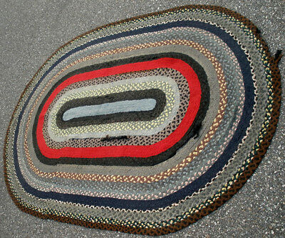 "Antique Vintage Multi Color Red Black Oval Handmade Braided Carpet Rug 60"" x 90"""