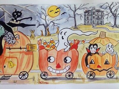 Halloween Art Print Signed Kristi C Jones pumpkin skeleton Illustration ghost