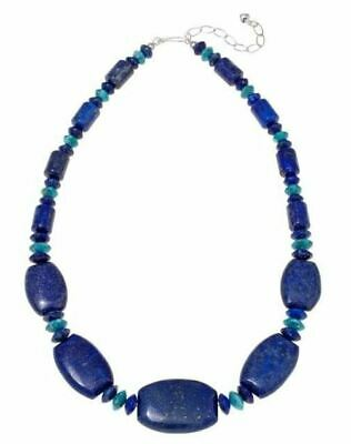 """Jay King Lapis & Turquoise Bead 20"""" Sterling Silver Necklace NWT"""