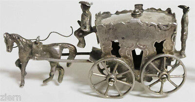 Early 19th Century Antique Dutch Silver One Horse Carriage Miniature