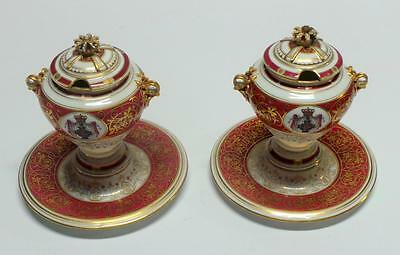Pair of Old Paris Porcelain Condiment Jars with attached Underplates 19th c