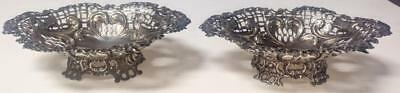 Pair of English Sterling Mint/Nut/Candy Dishes with Ornate Heart Shaped Scrolls