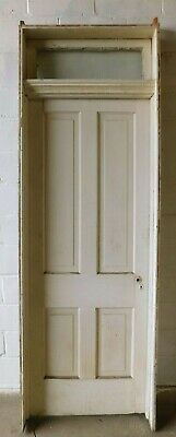 1800s Antique Complete DOOR and TRANSOM Raised Panel Italianate Style Fir ORNATE