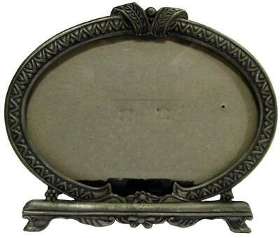 """Oval Pewter Style Photo Picture Freestanding Frame Holds Photo 3½"""" x 5"""""""