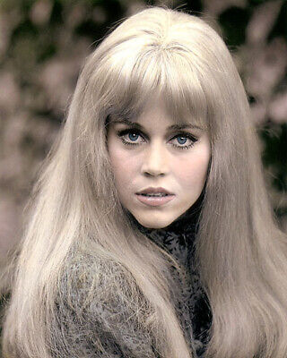 "JANE FONDA HOLLYWOOD ACTRESS & MOVIE STAR 8x10"" HAND COLOR TINTED PHOTOGRAPH"