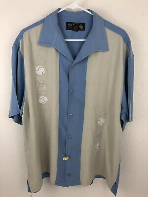 c35dde2b8d40 Nat Nast Mens Embroidered 100% Silk Camp Shirt Large Limited Edition 134  Head Up