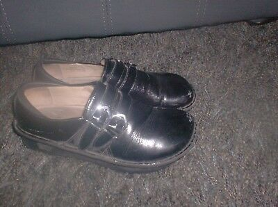 c018e962e18 ALEGRIA ALL-011 Black Patent Leather Clogs Mocs Loafers Shoes 37 U.S. 7-7.5